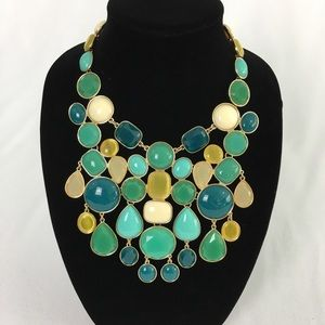 Cabochon bib statement necklace